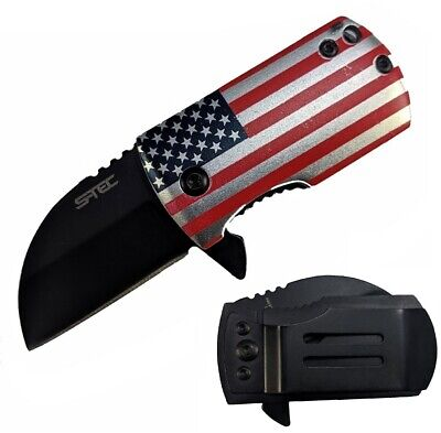 Money Clip Knife Black Blade - Spring-Assist Folding Money Clip Pocket Knife - American Flag USA Black Blade