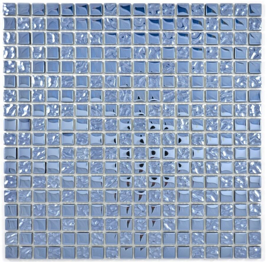 Mosaik Fliese Transluzent Glasmosaik schwarz silber 126-1783/_f 10 Matten