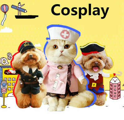 Funny Pet Cat Halloween Costumes (Pet Cat Dog Nurse Cosplay Clothes Halloween Puppy Costume Funny Coat Party)