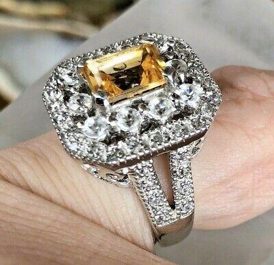 Dallas Prince Sterling Silver 2.88ctw Citrine & Zircon Double Halo Ring Sz 6 Ctw Citrine Ring