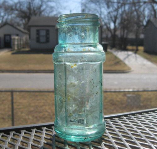 VINTAGE HEINZ AQUA 8-SIDED GLASS PICKLE JAR