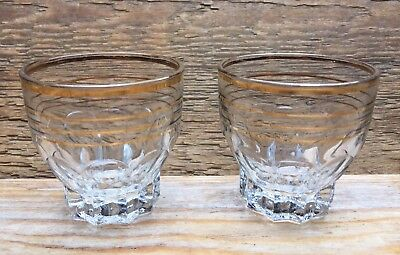 Pair Of  Kitsch Vintage Shot Glasses/Gold Foil Stripy Design/Retro/50's/60's/Bar
