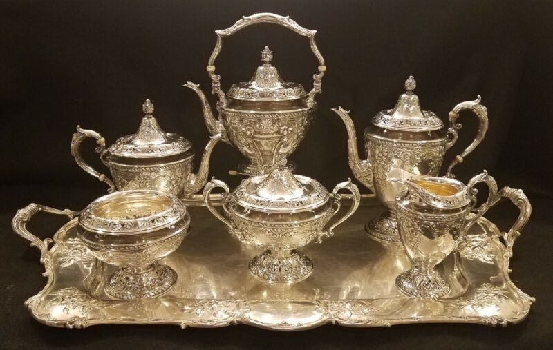 FABULOUS GORHAM STERLING SILVER TEA & COFFEE SERVICE HAND CHASED