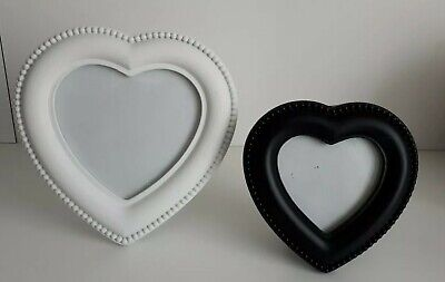 NEU Herzen Bilderrahmen schwarz und weiß Herzform romantisch Set 2 Stück Liebe