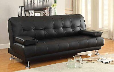 Faux Leather Black Sofa Bed recliner 3 Seater Luxury Modest Design