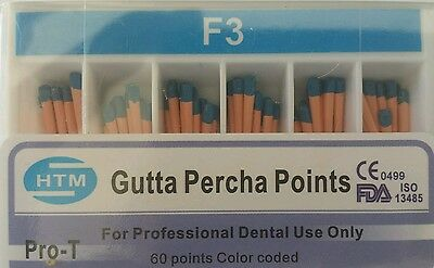 F3 Gutta Percha Points Htm Box Of 60 Dental Root Canal Compatible With Protaper