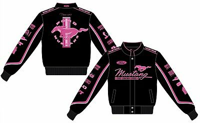 - Ford Mustang Jacket Ladies Black Twill Pink Embroidered Logos Mustang Women's