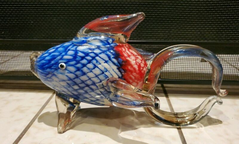 """Large Blown Glass Figurine """"Murano"""" Art Blue FISH with Speckled Body"""