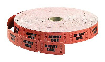 MACO Single Roll - Admit One - Tickets, 1 x 2 Inches, Red, 2000 Per Roll 18-610 Admit One Ticket Roll