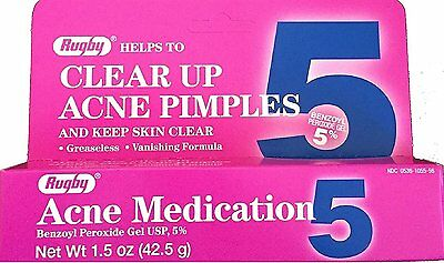 ACNE Benzoyl Peroxide GEL 5% 1.5oz Rugby pink PHARMACY FRESH! ***