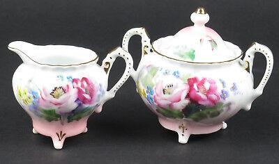 Vtg Japanese porcelain sugar bowl creamer set pink white gold hand painted