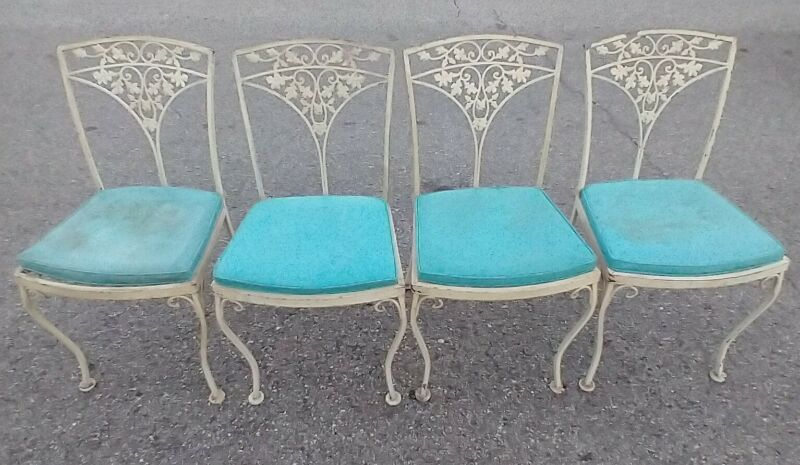 4 Woodard Wrought Iron Patio Table Chairs from Orleans Collection Mid Century