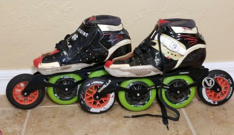 Luigino Sting Inline Skates Vanilla 7000 Frame Atom One Wheels Skating Size 8 40