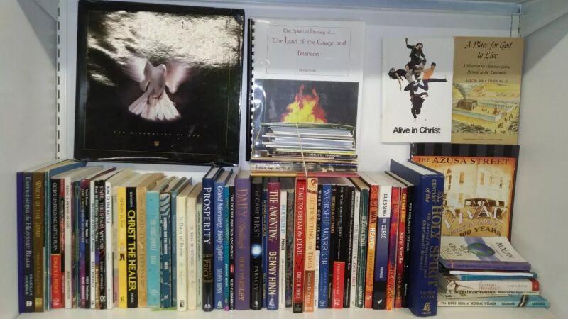 Huge Lot of 120 Pentecostal Books & Booklets Prince Hinn Copeland Roberts & More