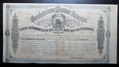 1864 Confederate States of America $500 Bond First Series Type 158 CSA Seal