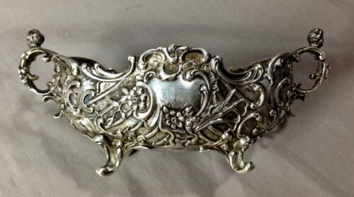 Antique Baroque 800 Silver Cherub Handled Deep Relief Emboss Dish Vintage 1900