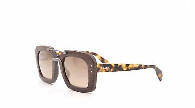 NEW AUTHENTIC PRADA SPR 30R UBT-402 Brown/Tan Wood Women's Square Sunglasses