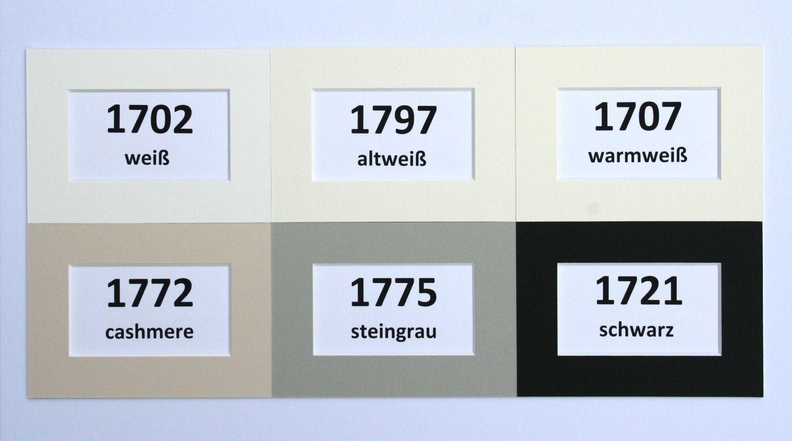 Passepartout 1,7 mm nach Maß  alle Außenformate 6 Farben alterungsbeständig