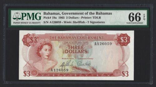 BAHAMAS $3 Dollars 1965, P-19a Government Issue, PMG 66 EPQ GEM UNC, QEII Type