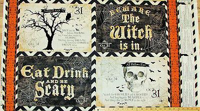 Something Wicked Oct 31st Skeleton Halloween Fabric Panels  23