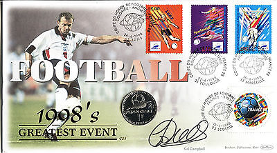 Benham SIGNED Coin Cover 1998 Football World Cup CERTIFIED SIGNED SOL CAMPBELL