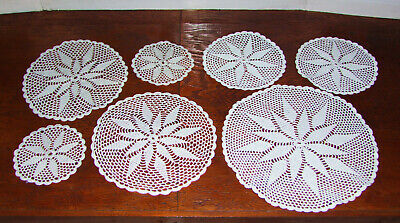 7x Vintage (1970s) Round Hand-crocheted Doilies/Mats. Sets of 4 & of 3. Crochet