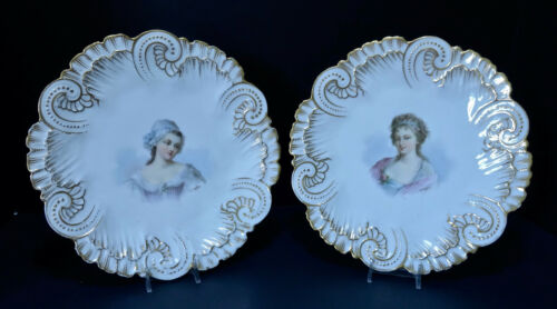 Pair Antique French Portrait Plates, Sevres Style