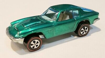 Hot Wheels REDLINE 1969 GREEN MASERATI MISTRAL, AWESOME CAR WITH WHITE INTERIOR!