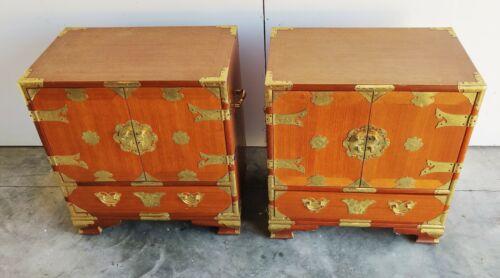 VTG Antique Pair Set Korean Asian Wood Brass Chest Table Nightstand Teak?