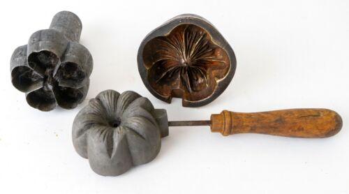 Antique Bronze & Iron Silk Flower Millinery Press Mold Tool w/ Iron Cutter