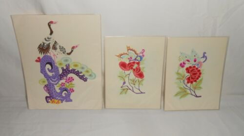 Lot of 3 Vintage Chinese Paper Cuts Birds, Butterflies, Flowers