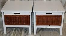 Pair Timber + Rattan Drawers- Side Table/ Bedside Cupboard South Windsor Hawkesbury Area Preview