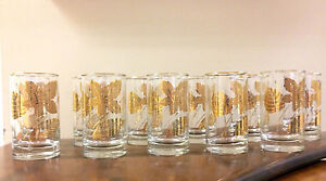 Mid-Century-Vintage-Clear-Glass-with-Metallic-Gold-Tumblers-Set-of-11