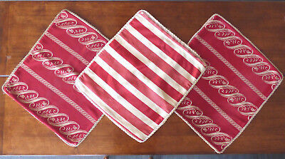 Vtg ** 3 x ANTIQUE CUSHION COVERS ~ RED ** From England ~ Heavy Satin  21