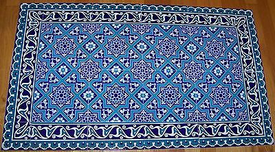 "Turkish Blue 40""x24"" Iznik Floral & Geometric Pattern Ceramic Tile Panel Mural"