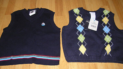 Boys Sweater Vest Lot 12 months 12m Arygle Nautical Easter blue yellow green