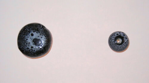 LOT of 20 Black + Gray Spotted Ceramic Beads 19mm Coin, Flat Round Jewelry Craft