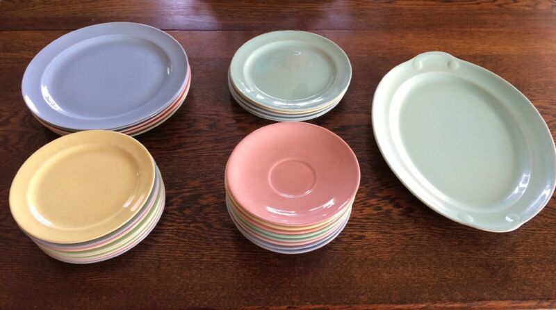 LU-RAY PASTEL DISHES LOT OF 29 DISHES PLATTER & SAUCERS