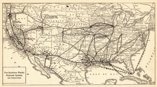 1917 Antique SOUTHERN PACIFIC RAILROAD Map Vintage Railway MAP #6483