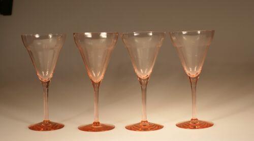 Set 4 Vintage Deco Pink Horizontal Optic Wine Glasses Water Goblets c.1930