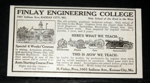1917 OLD MAGAZINE PRINT AD, FINLAY ENGINEERING COLLEGE, TECHNICAL, KANSAS CITY!