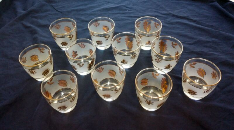"10 Libbey MCM Golden Foliage old fashion glasses 10 oz 4"" tall Excellent Conditi"