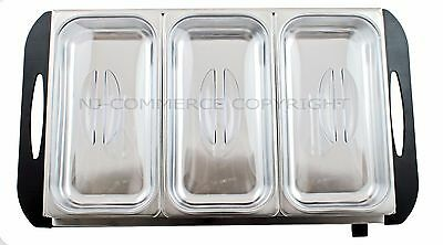 Buffet Food Warmer Server Hot Plate 3 Tray Adjustable Temperature 3x2.5L
