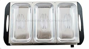 Buffet Food Warmer Server Hot Plate 3 Tray Adjustable Temperature 3x2.5L