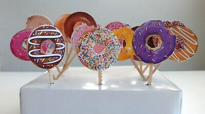 Donut Theme Cupcake topper, Cake Pop, Donut Decor, Party Supplies 12 PIECES - Cake Pops Supplies