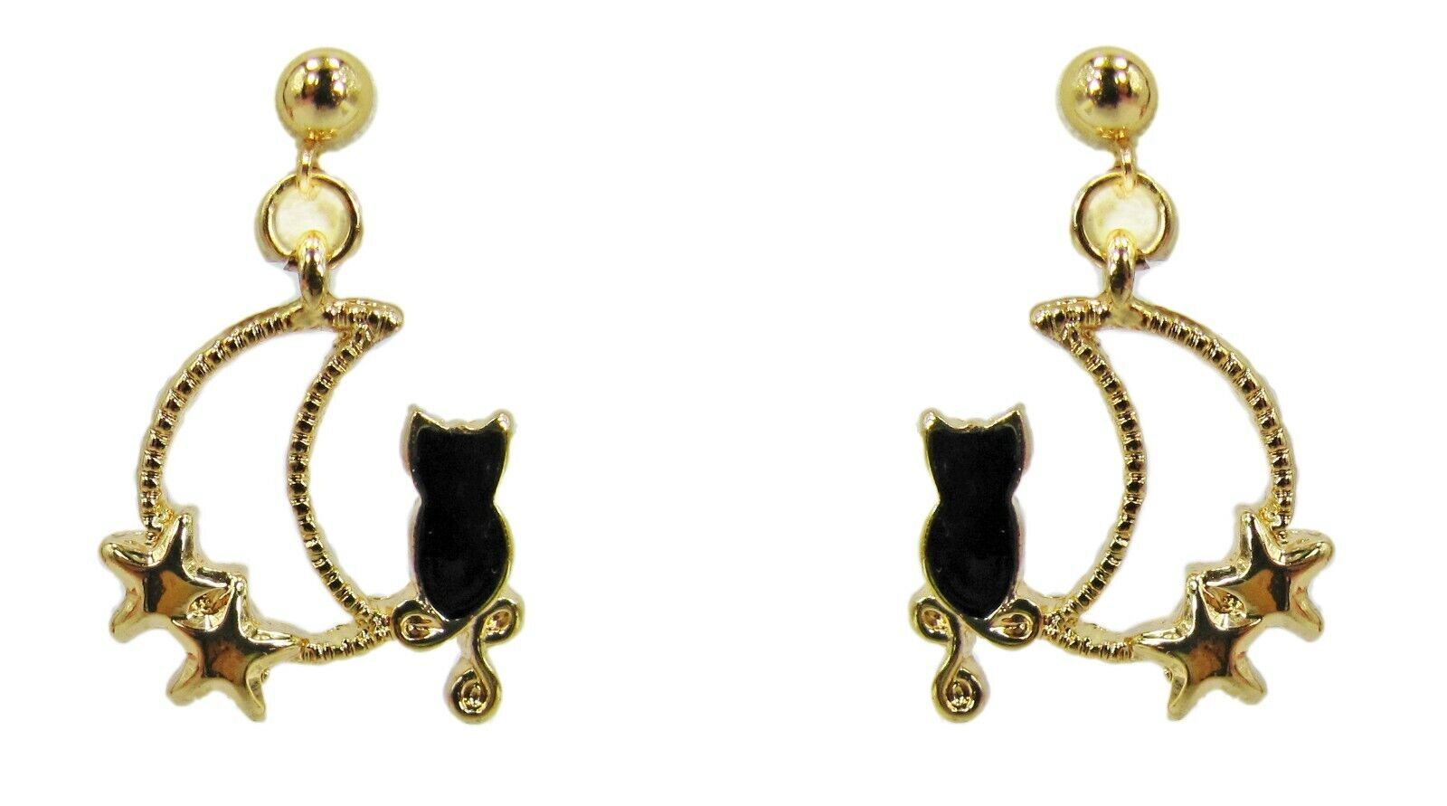 Sailor Moon and Stars with Black Cat Earrings - New