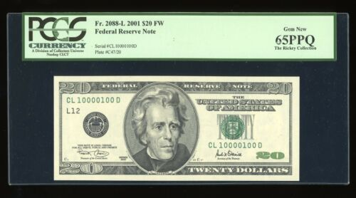 DBR 2001 $20 Binary 1/0 San Francisco Fr. 2088-L PCGS 65 PPQ Serial CL10000100D