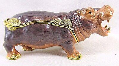 Hippopotamus Jeweled Pewter Trinket Box wild life decor Wildlife Trinket Boxes