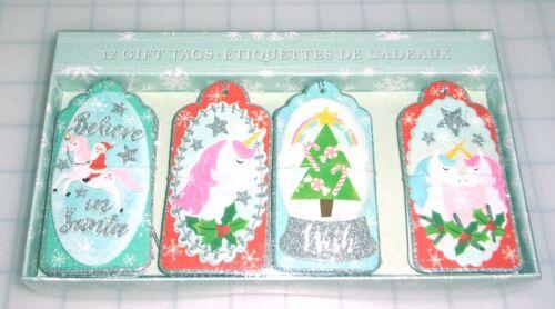 Molly & Rex 12 Gift Tags Embellished Glitter Santa Unicorn Rainbow Christmas