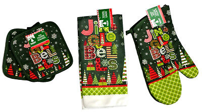 - Christmas Jingle Bells Winter Kitchen Gift Set Oven Mitt, Pot Holders, Towel NEW